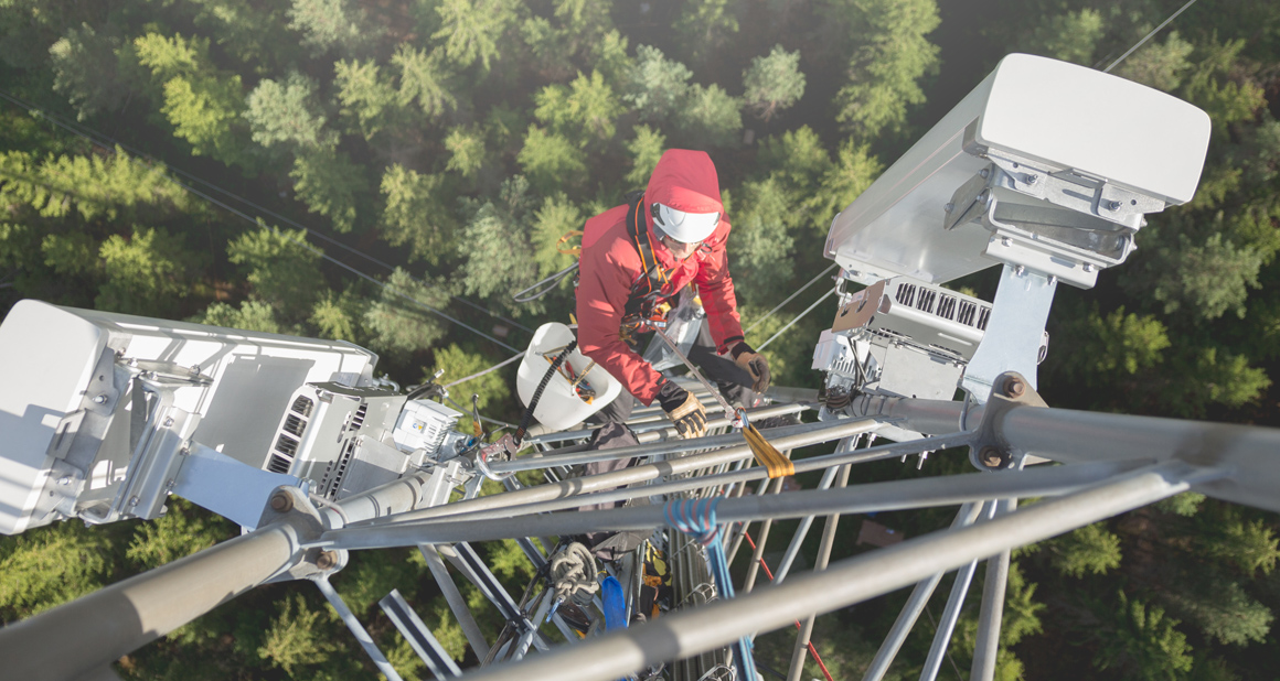 Man working in a high risk situation
